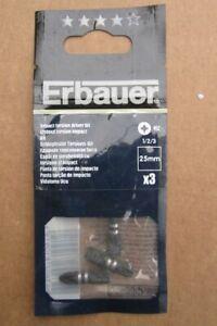 Erbauer Impact Torsion Driver Bit pozi 25mm X3
