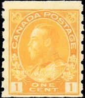 Mint H Canada 1c 1923 F Scott #126d Coil King George V Admiral Stamp