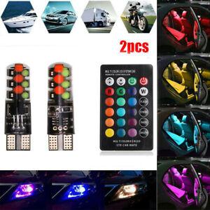 2pcs T10 COB RGB LED 6SMD Car Wedge Side Ampoules Multicolores À Distance ConW1F
