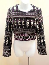 New H&M Divided 10 Jacket Purple Tribal Cropped Long Sleeve Lined Geometric