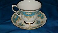 Made In England QUEEN ANNE Bone China Blue Floral Cup & Saucer Ridgeway Pottery