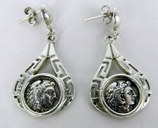 Vtg Konstantino Greek Key Coin Omega Lambda Dangle Post Sterling Silver Earrings