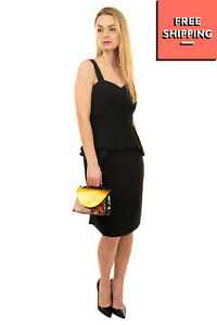 RRP €335 ALLURE By ALTHEA Crepe Peplum Dress Plus Size 37 / XS Made in Italy