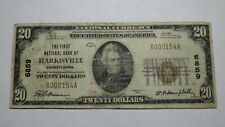 $20 1929 Harrisville Pennsylvania PA National Currency Bank Note Bill Ch. #6859