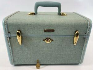 Vintage Samsonite 4212 Baby Blue Green Retro Makeup Overnight Case w/ Key & Tray