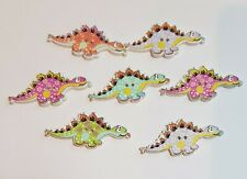 12 Novelty Dinosaur Wooden Buttons Kids Craft Knitting Toppers Cards