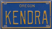 KENDRA Blue Oregon - Mini License Plate - Name Tag - Bicycle Plate!