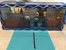 Handmade Folk Art Signed Shadow Box Dia de Los Muertos 4 Muertos In Bar- Mexico