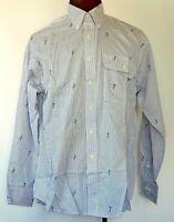 GANT Imperial Poplin Striped Button-Up Long Sleeve Golf Print Shirt 16.5 34/35