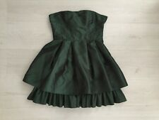 DIVIDED @ H&M RACING GREEN SHINY ACETATE STRAPLESS TIERED DRESS SIZE 12 14