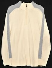 SUPERB BALMAIN THICK WHITE WOOL ZIP UP JUMPER LIGHT BLUE STRIPE M L