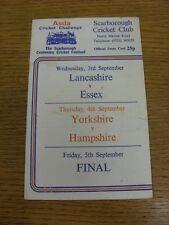 04/09/1986 Cricket Scorecard: Yorkshire v Hampshire [At Scarborough] (scores not