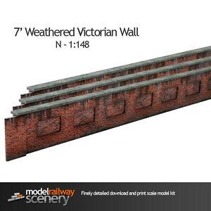 7' VICTORIAN RED BRICK LINESIDE WEATHERED WALL N GAUGE PRE CUT CARD KIT