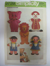 Vintage Simplicity 9739 FINGER PUPPET TOYS Sewing Pattern Lion Boy Girl Clown