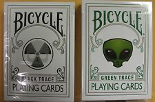 Lot 2 New Rare Trace Decks 1 GREEN,1 BLACK Bicycle Playing Cards