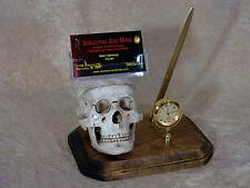 Skull Pen/Business Card Holder w/ Clock Halloween Skull