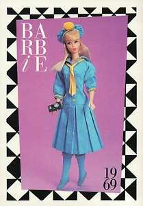 """Barbie Collectible Fashion Trading Card  """" See-Worthy """"  Camera, Blue Dress 1969"""