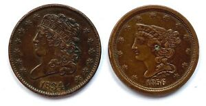 1834 CLASSIC HEAD & 1856 BRAIDED HAIR HALF CENTS AS IS GREAT FOR TYPE SET