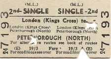B.R.B. Edmondson Ticket - London Kings Cross to Peterborough North