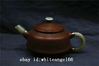 "6"" Chinese old antique Yixing zisha teapot handmade jade handle teapot statue"