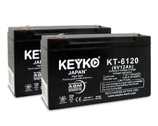 6V 12Ah SLA  Replacement rechargeable Battery KEYKO ® AGM (F1/F2 Adaptor) 2 PK