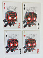 SPIDERMAN Black/Red MILES MORALES Set of 4 FUNKO Pop MARVEL Playing Cards Ace