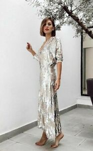 ZARA SILVER SEQUIN A-LINE MAXI DRESS WITH V NECK & PUFF SLEEVES 2878/467 S L