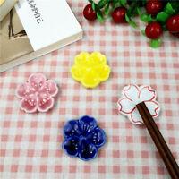 Japanese Chopsticks Rest Ceramic Cherry Blossom Fork Rack Flatware Holder Home