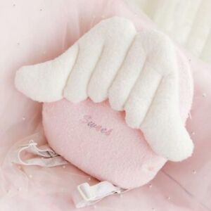 Kawaii Pink Angel Wings Plush Backpack Crossbody Shoulder Bag Women Girls Gift