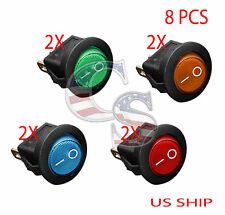 8PCS LED W1 Dot Light 12V Car Auto Boat Round Rocker ON/OFF TOGGLE SPST SWITCH