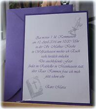 Einladungskarte Kommunion Konfirmation Taufe Firmung Einladung Dankes Karte lila