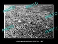 OLD POSTCARD SIZE PHOTO PHOENIX ARIZONA AERIAL VIEW OF THE TOWN c1940