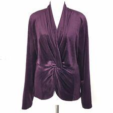 Stunning MASAI CLOTHING CO Purple Aubergine Velour Twist Front Evening Top 12 UK