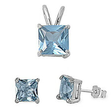 GIFT! PRINCESS CUT Aquamarine .925 Sterling Silver Earrings & Pendant Set