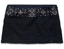 NWT Hollister Abercrombie Shine Skirt Micro Mini Crochet Macrame Navy Sz 00 SEXY