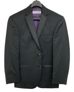 New Men's Black Joseph Abboud Tuxedo Jacket Satin Notch Lapels Groom Mason 56L