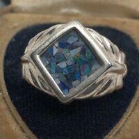 Vintage Sterling Silver Ring 925 Size 9 Crushed Opal Gemstone Signet Signed UTC
