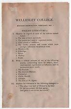 1901 WELLESLEY COLLEGE English Literature MIDTERM Exam EXAMINATION Test RARE