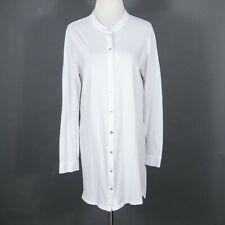 Eileen Fisher Organic Cotton White Mandarin Collar Tunic Top Large