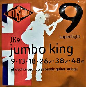 Rotosound Acoustic Guitar Phosphor Bronze Jumbo King Strings JK9 9 Gauge