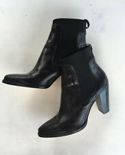Zara All Leather Black Heel Boots  Size 38