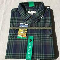 Orvis Men's Tartan Twill Long Sleeve Shirt - XL, color Blue & Green