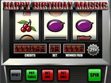 SLOT MACHINE Edible ICING Image Birthday CAKE Decoration Topper