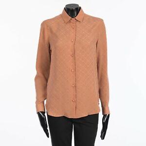 GUCCI 1400$ Pink Women's Check GG Silk Crêpe Shirt
