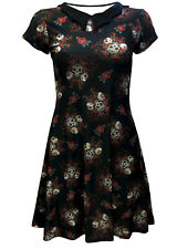 Gothic Floral Sugar Skulls Roses Alternative Print Rockabilly Bat Collar Dress