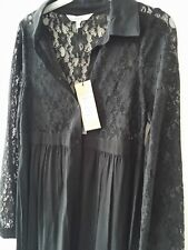 Coast Womens dress black lace new with tag polyester viscose mix long sleeve UK6