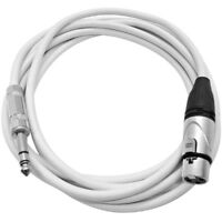 10 Foot XLR Female to 1/4 Inch TRS Patch Cable - Balanced White Audio Cord
