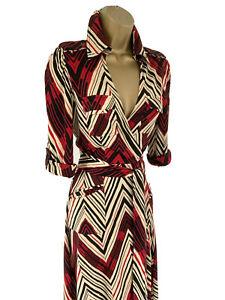 Diane Von Furstenberg Size UK 10 Geometric Dress 100% Silk Jersey Wrap