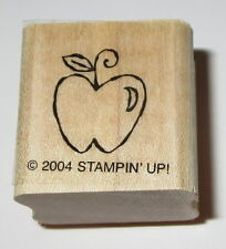 Apple Rubber Stamp Fruit Teachers Stampin' Up! Mini Retired Wood Mounted EUC