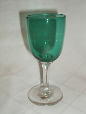 Antique 19c Bristol Green Dessert Wine Glass Hand Made Victorian Crystal Glass